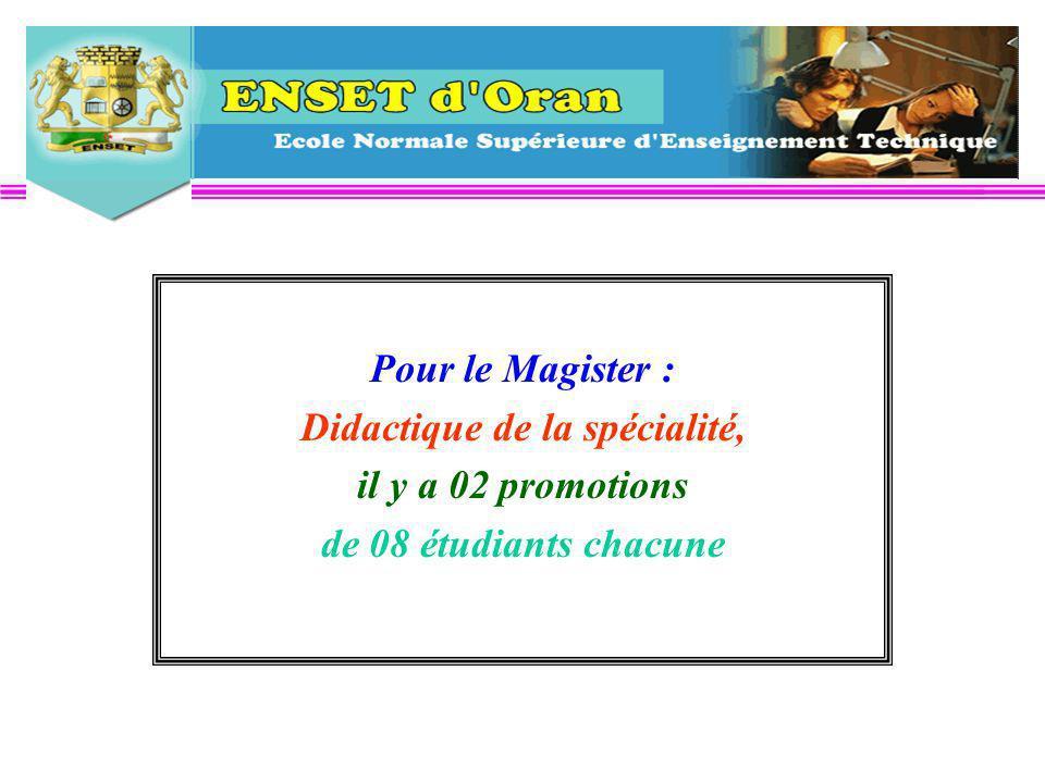 Pour le Magister : Didactique de la spécialité, il y a 02 promotions de 08 étudiants chacune