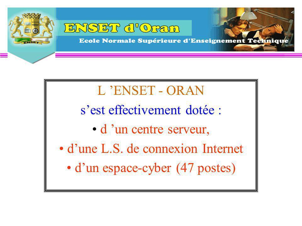 L ENSET - ORAN sest effectivement dotée : d un centre serveur, dune L.S.