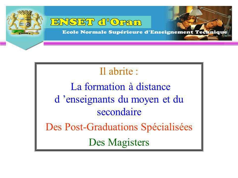 Il abrite : La formation à distance d enseignants du moyen et du secondaire Des Post-Graduations Spécialisées Des Magisters