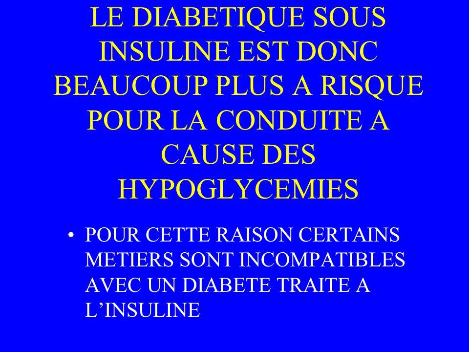 LE DIABETIQUE SOUS INSULINE EST DONC BEAUCOUP PLUS A RISQUE POUR LA CONDUITE A CAUSE DES HYPOGLYCEMIES POUR CETTE RAISON CERTAINS METIERS SONT INCOMPA