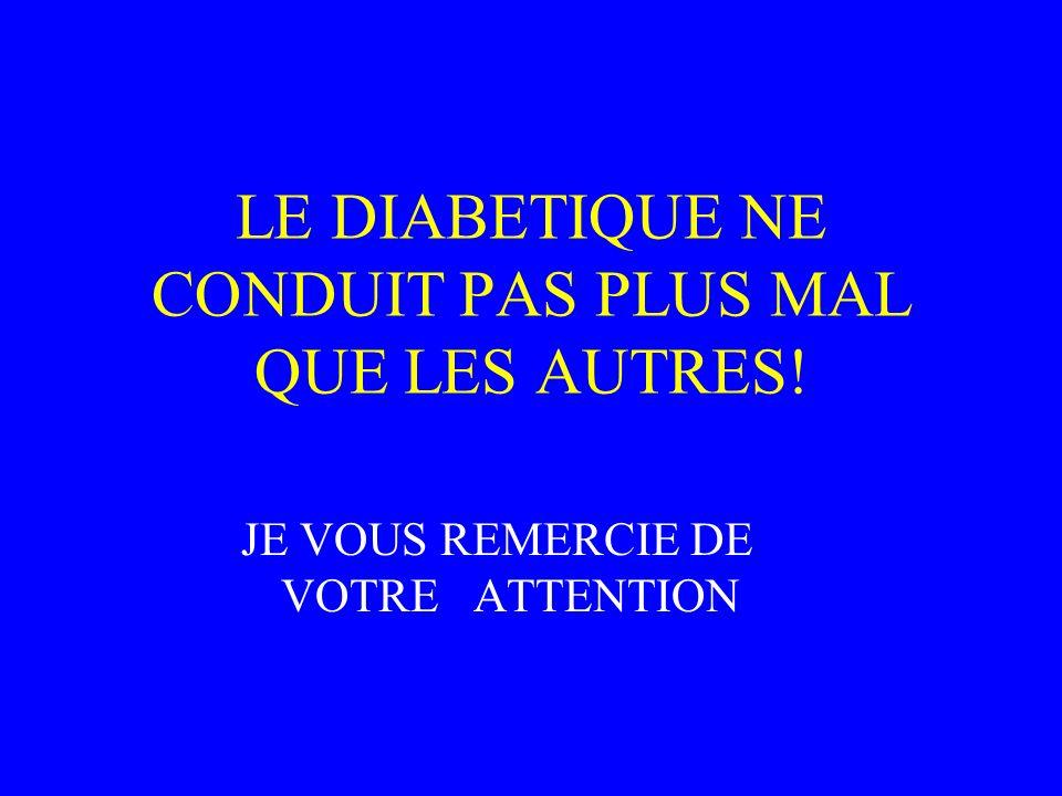 LE DIABETIQUE NE CONDUIT PAS PLUS MAL QUE LES AUTRES! JE VOUS REMERCIE DE VOTRE ATTENTION