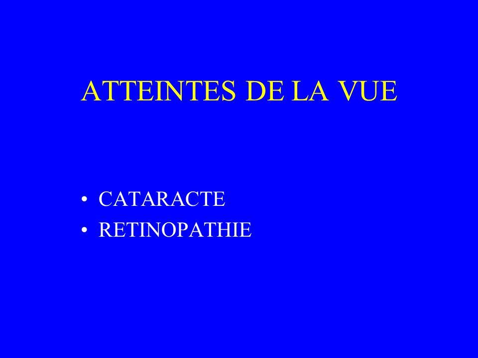 ATTEINTES DE LA VUE CATARACTE RETINOPATHIE