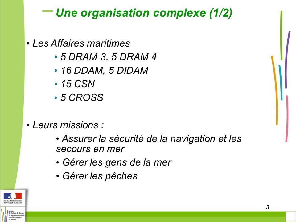 3 Une organisation complexe (1/2) Les Affaires maritimes 5 DRAM 3, 5 DRAM 4 16 DDAM, 5 DIDAM 15 CSN 5 CROSS Leurs missions : Assurer la sécurité de la navigation et les secours en mer Gérer les gens de la mer Gérer les pêches
