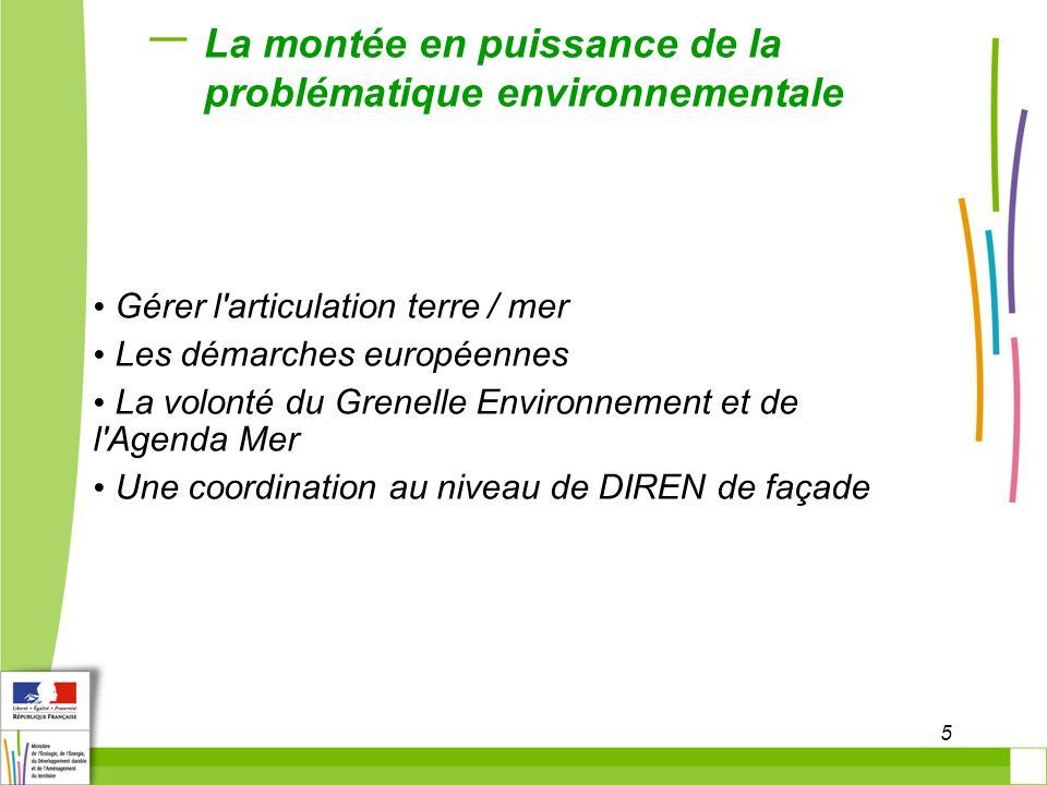 5 La montée en puissance de la problématique environnementale Gérer l'articulation terre / mer Les démarches européennes La volonté du Grenelle Enviro