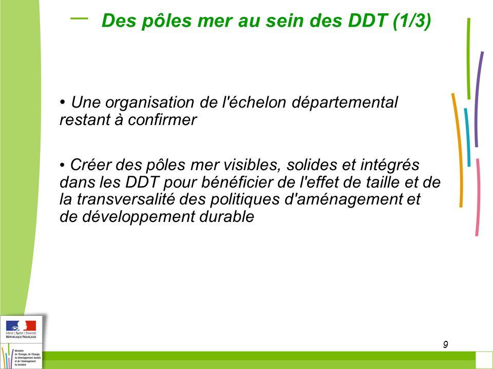 10 Des pôles mer au sein des DDT (2/3) L es services des DDAM ou DIDAM dans leur intégralité, les personnels assurant la gestion des ports issue des services maritimes des DDE et DDEA, tout ou partie des personnels exerçant des missions issues des services maritimes Une organisation précise à arrêter pendant la préfiguration de la DDT