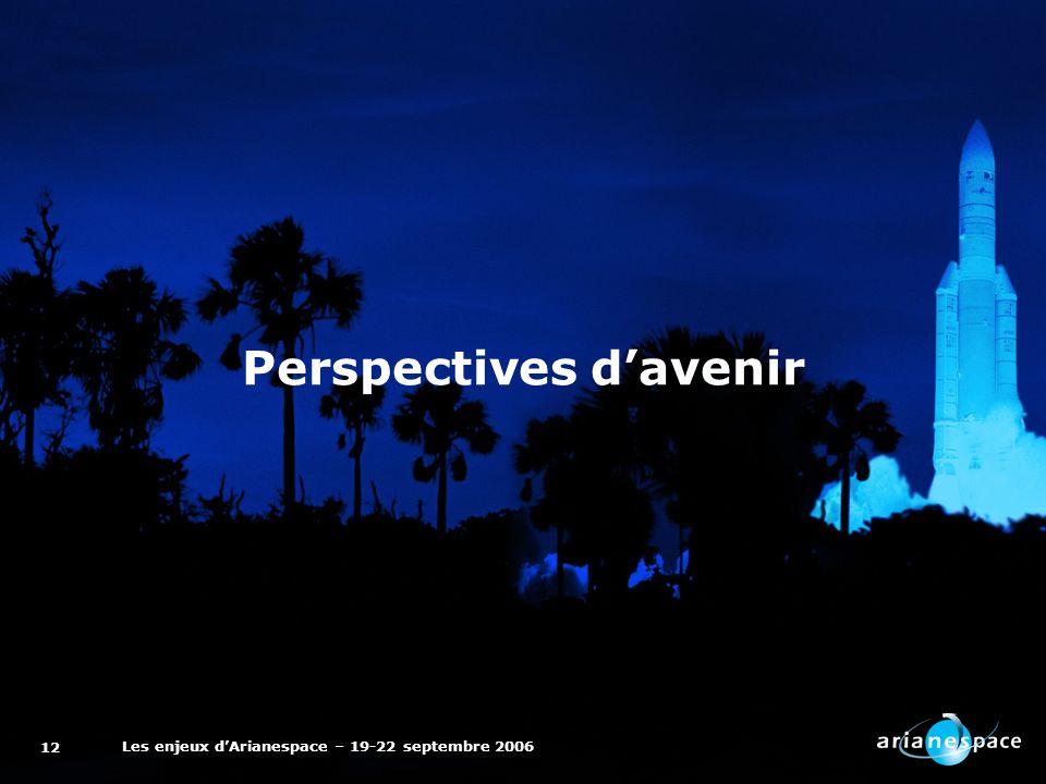 Les enjeux dArianespace – 19-22 septembre 2006 12 Perspectives davenir
