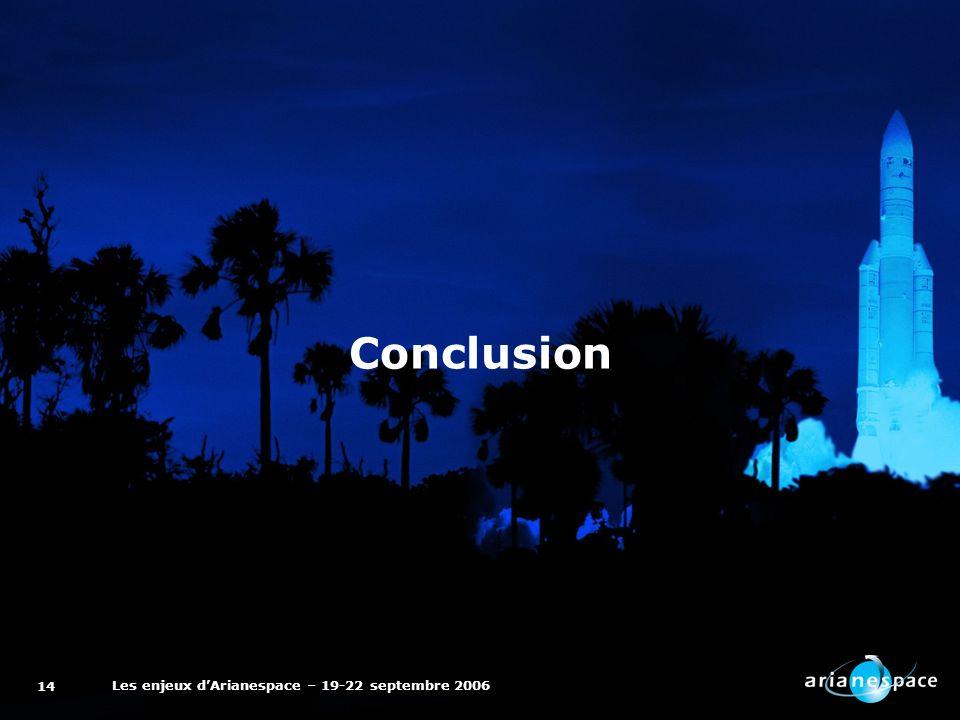 Les enjeux dArianespace – 19-22 septembre 2006 14 Conclusion