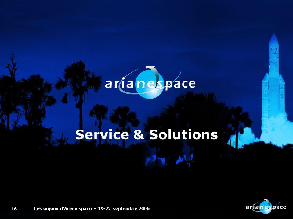 Les enjeux dArianespace – 19-22 septembre 2006 16 Service & Solutions