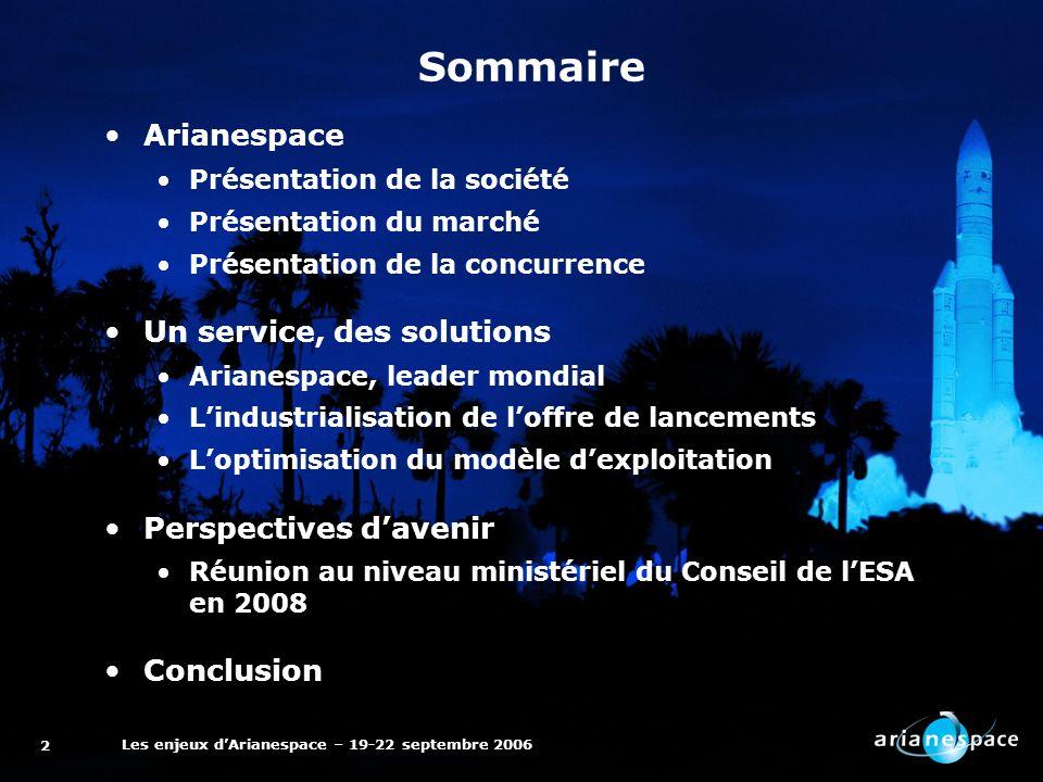 Les enjeux dArianespace – 19-22 septembre 2006 2 Arianespace Présentation de la société Présentation du marché Présentation de la concurrence Un servi