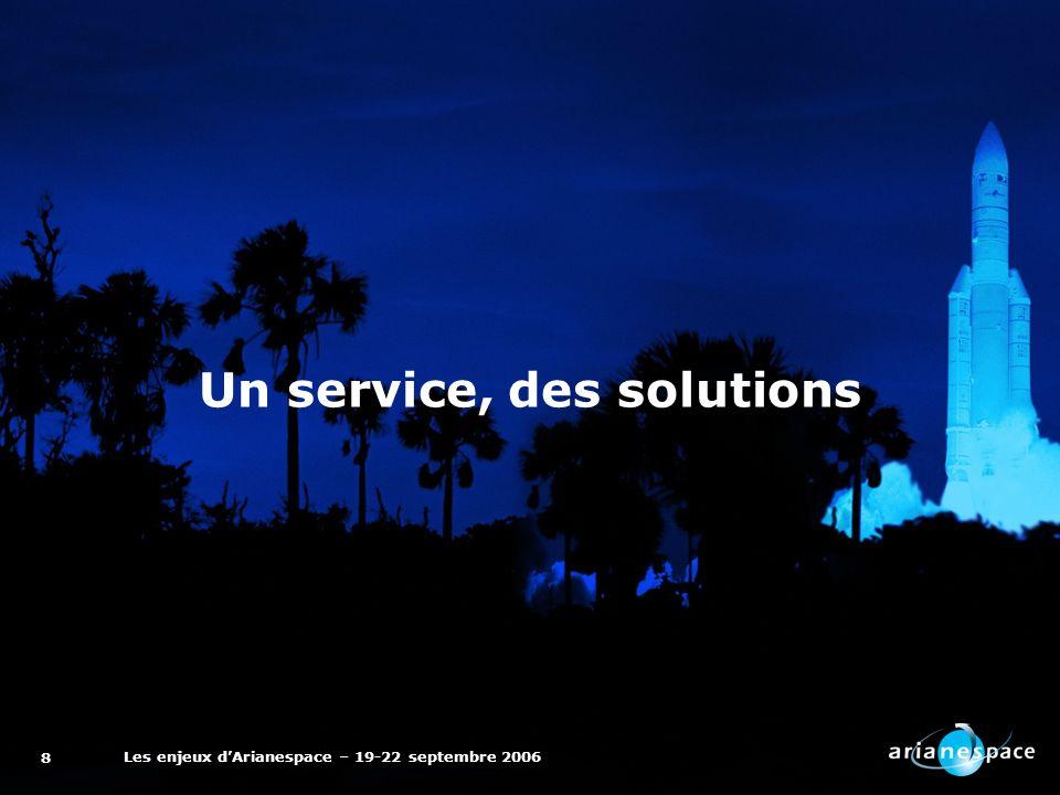 Les enjeux dArianespace – 19-22 septembre 2006 8 Un service, des solutions