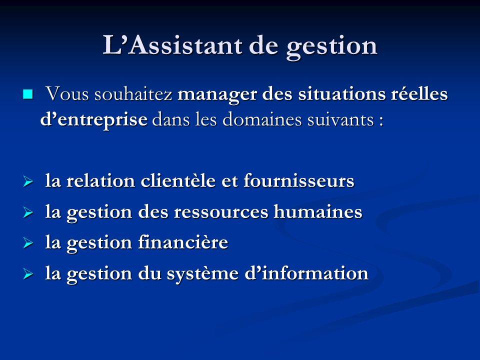 LAssistant de gestion Vous souhaitez manager des situations réelles dentreprise dans les domaines suivants : Vous souhaitez manager des situations rée