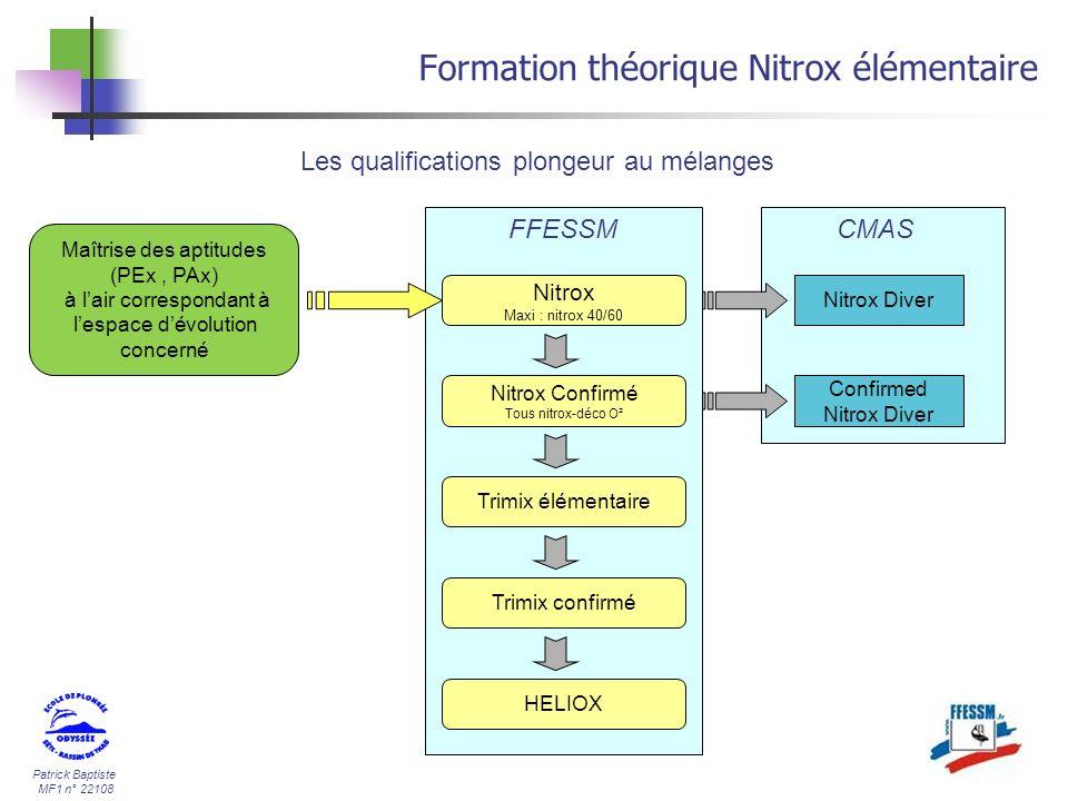 Patrick Baptiste MF1 n° 22108 Formation théorique Nitrox élémentaire Les qualifications plongeur au mélanges Maîtrise des aptitudes (PEx, PAx) à lair
