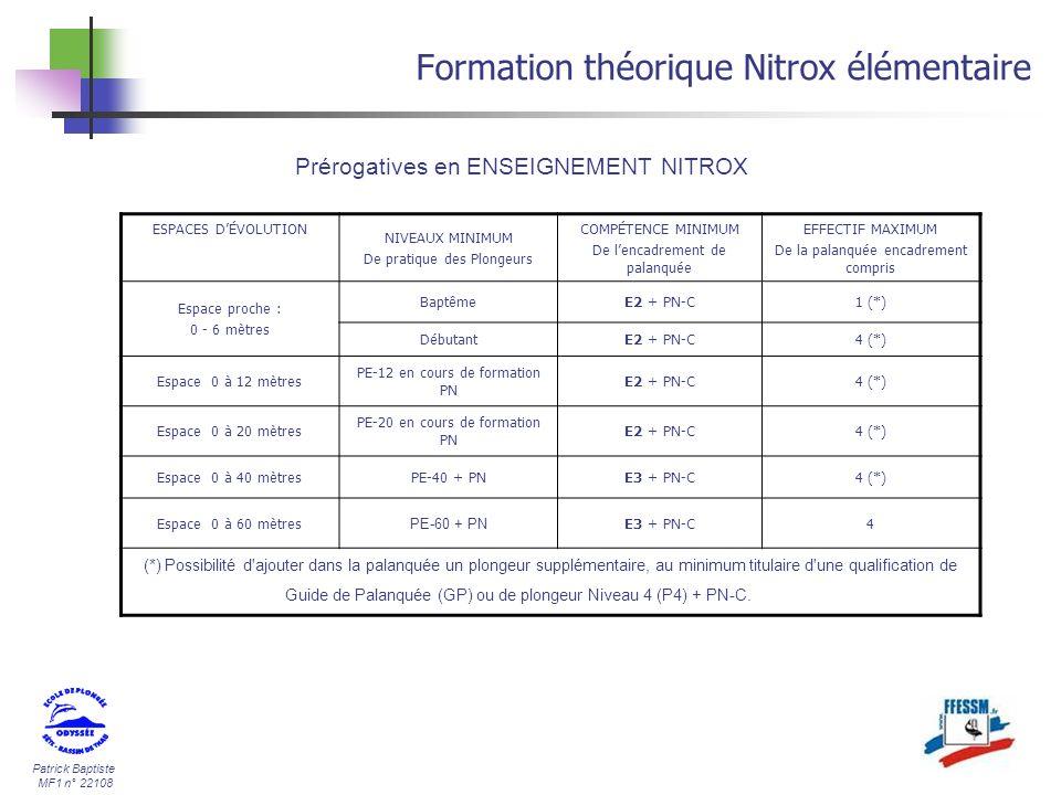 Patrick Baptiste MF1 n° 22108 Formation théorique Nitrox élémentaire Prérogatives en ENSEIGNEMENT NITROX ESPACES DÉVOLUTION NIVEAUX MINIMUM De pratiqu
