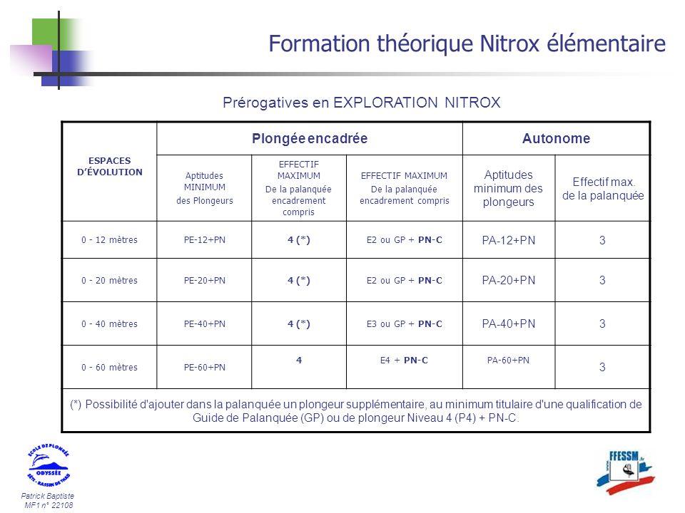 Patrick Baptiste MF1 n° 22108 Formation théorique Nitrox élémentaire Prérogatives en EXPLORATION NITROX ESPACES DÉVOLUTION Plongée encadréeAutonome Ap