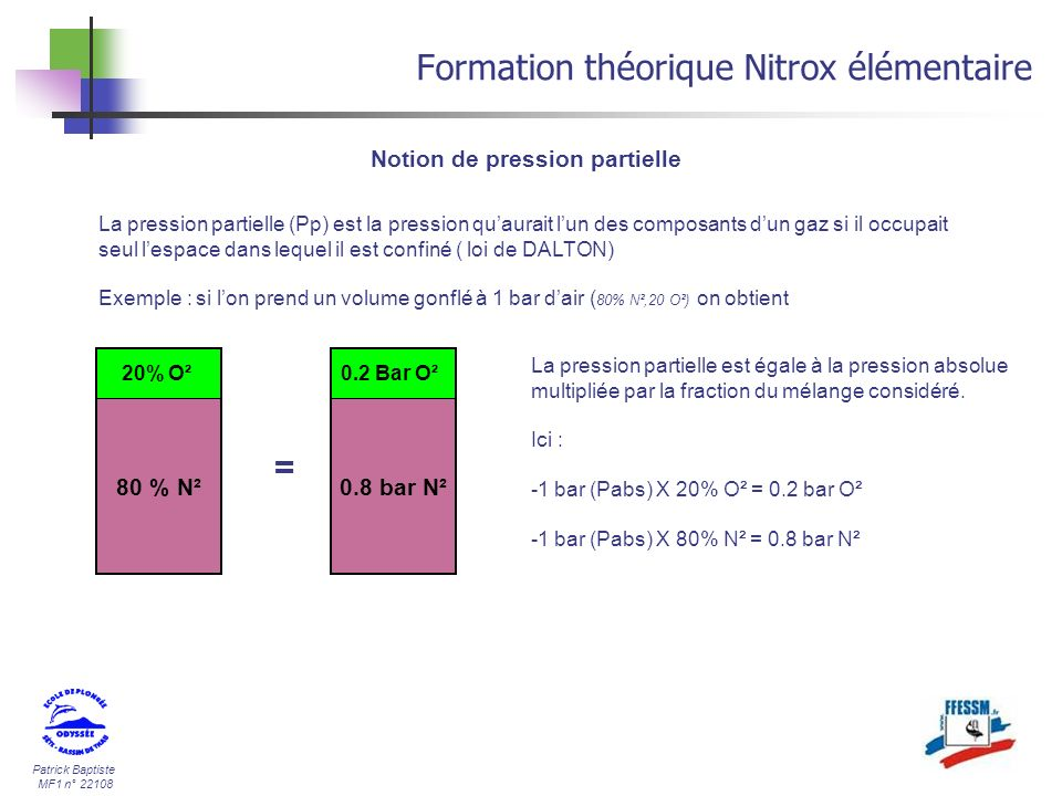 Patrick Baptiste MF1 n° 22108 Formation théorique Nitrox élémentaire Notion de pression partielle La pression partielle (Pp) est la pression quaurait