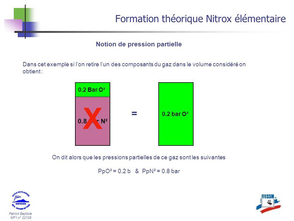 Patrick Baptiste MF1 n° 22108 Formation théorique Nitrox élémentaire Notion de pression partielle 0.2 bar O² 0.8 bar N² 0.2 Bar O² = Dans cet exemple
