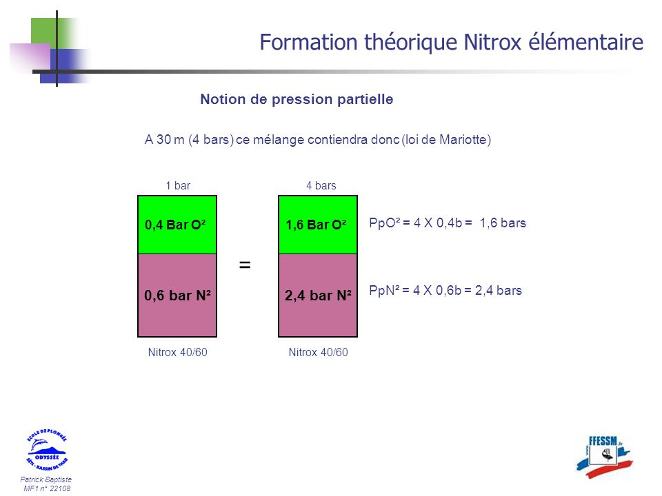 Patrick Baptiste MF1 n° 22108 Formation théorique Nitrox élémentaire 2,4 bar N² 1,6 Bar O² A 30 m (4 bars) ce mélange contiendra donc (loi de Mariotte
