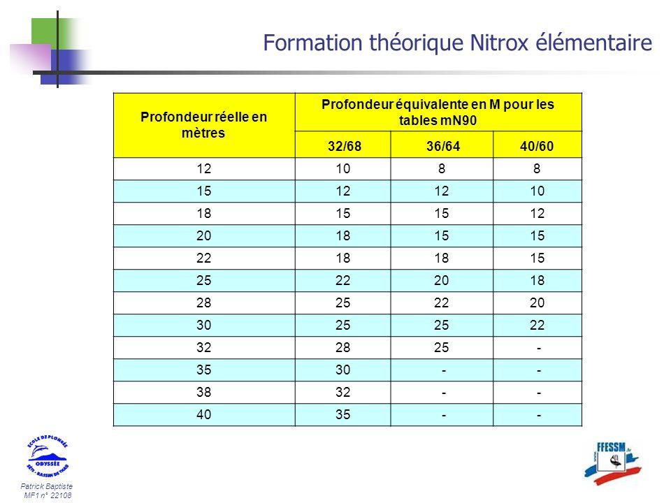 Patrick Baptiste MF1 n° 22108 Formation théorique Nitrox élémentaire Profondeur réelle en mètres Profondeur équivalente en M pour les tables mN90 32/6