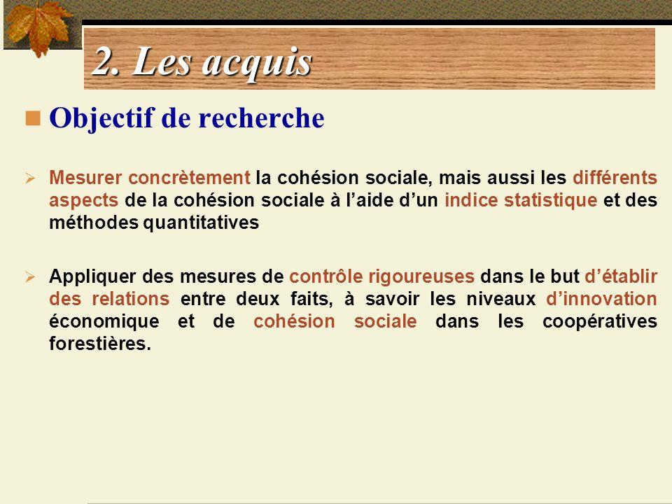 2. Les acquis Objectif de recherche Mesurer concrètement la cohésion sociale, mais aussi les différents aspects de la cohésion sociale à laide dun ind