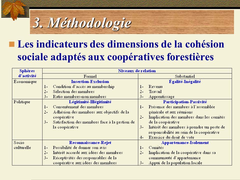 3. Méthodologie Les indicateurs des dimensions de la cohésion sociale adaptés aux coopératives forestières