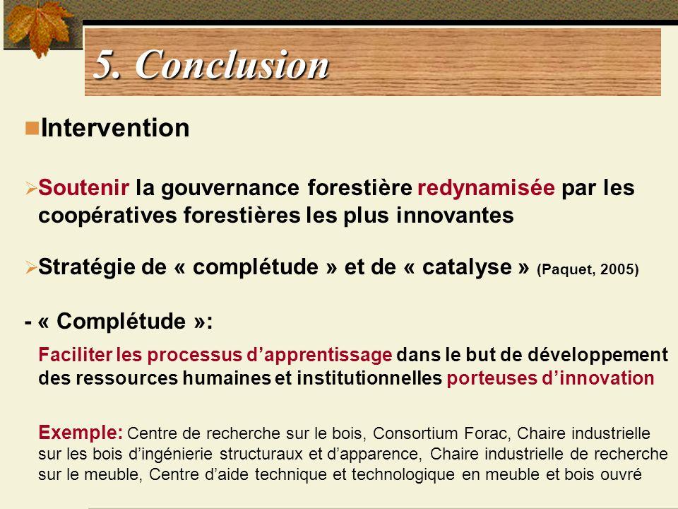 5. Conclusion Intervention Soutenir la gouvernance forestière redynamisée par les coopératives forestières les plus innovantes Stratégie de « complétu