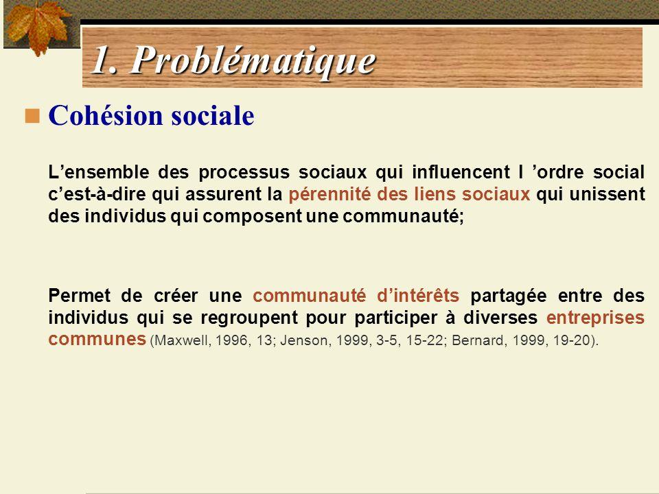 1. Problématique Cohésion sociale Lensemble des processus sociaux qui influencent l ordre social cest-à-dire qui assurent la pérennité des liens socia