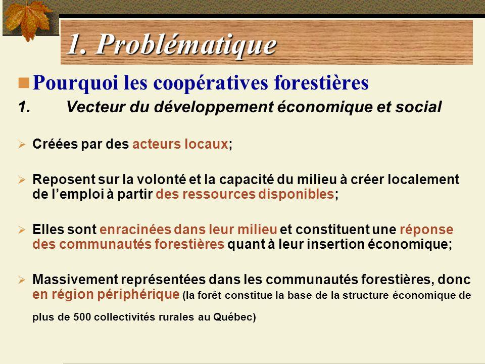 1. Problématique Pourquoi les coopératives forestières 1. Vecteur du développement économique et social Créées par des acteurs locaux; Reposent sur la