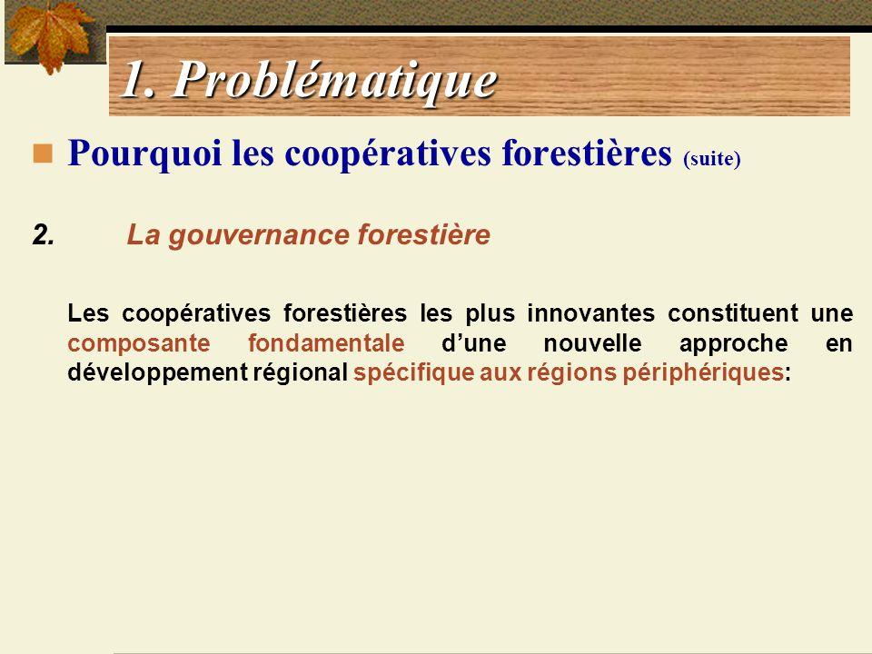 1. Problématique Pourquoi les coopératives forestières (suite) 2. La gouvernance forestière Les coopératives forestières les plus innovantes constitue