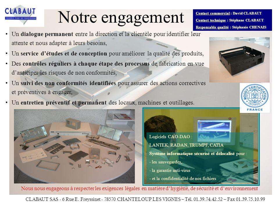 Contact commercial : David CLABAUT Contact technique : Stéphane CLABAUT Responsable qualité : Stéphanie CHENAIS CLABAUT SAS - 6 Rue E. Freyssinet - 78