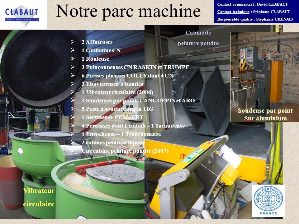 Contact commercial : David CLABAUT Contact technique : Stéphane CLABAUT Responsable qualité : Stéphanie CHENAIS Notre parc machine 2 Affuteuses 1 Guil
