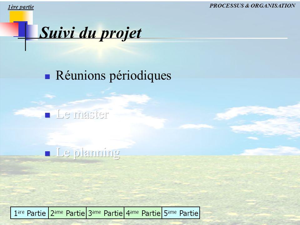 1 è re Partie2 è me Partie3 è me Partie4 è me Partie5 è me Partie Suivi du projet PROCESSUS & ORGANISATION 1ère partie