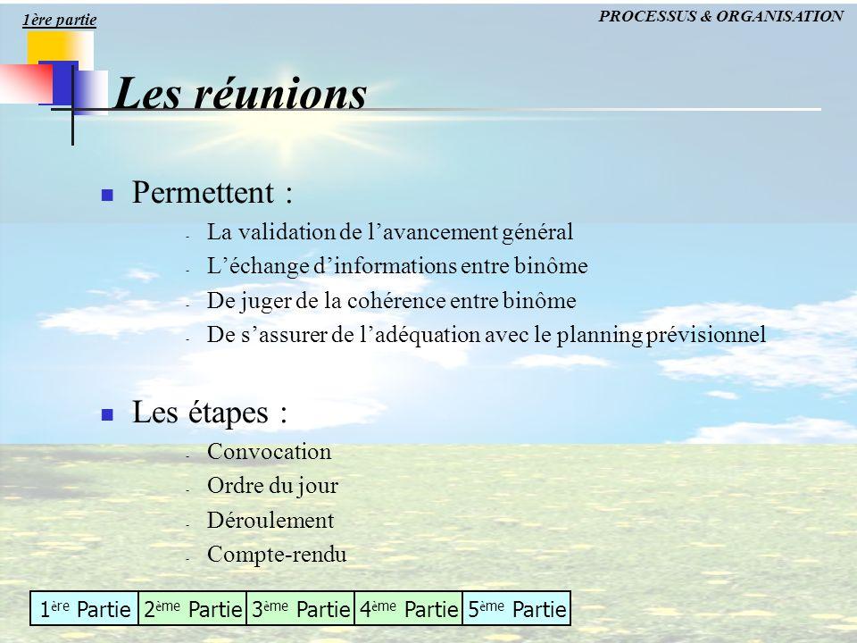 1 è re Partie2 è me Partie3 è me Partie4 è me Partie5 è me Partie Les réunions Permettent : - La validation de lavancement général - Léchange dinforma