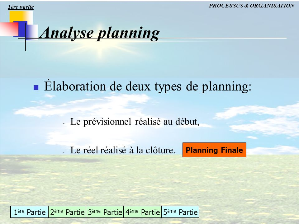 1 è re Partie2 è me Partie3 è me Partie4 è me Partie5 è me Partie Analyse planning Élaboration de deux types de planning: - Le prévisionnel réalisé au