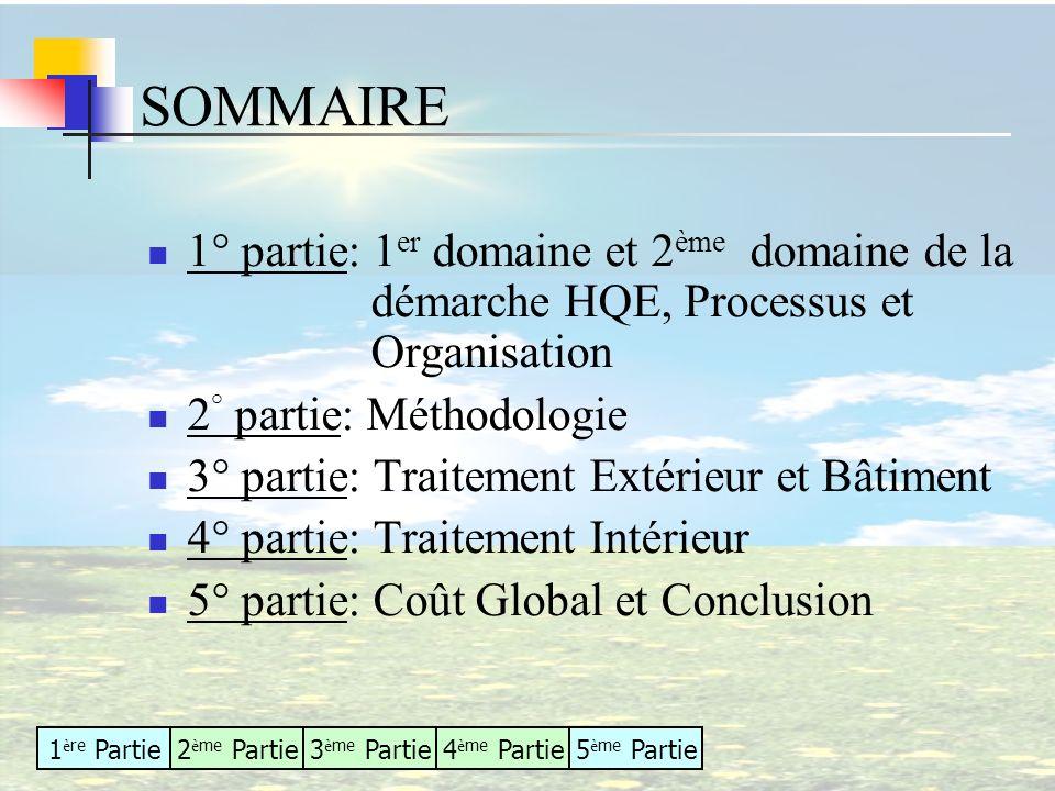 1 è re Partie2 è me Partie3 è me Partie4 è me Partie5 è me Partie 1° partie: 1 er domaine et 2 ème domaine de la démarche HQE, Processus et Organisati