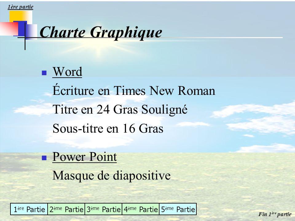 1 è re Partie2 è me Partie3 è me Partie4 è me Partie5 è me Partie Charte Graphique Word Écriture en Times New Roman Titre en 24 Gras Souligné Sous-tit