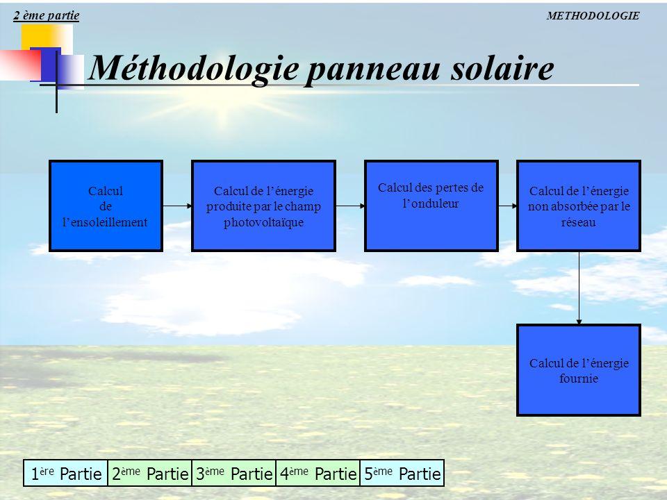 1 è re Partie2 è me Partie3 è me Partie4 è me Partie5 è me Partie Méthodologie panneau solaire METHODOLOGIE Calcul de lensoleillement Calcul des perte