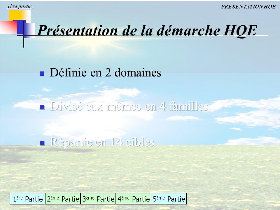1 è re Partie2 è me Partie3 è me Partie4 è me Partie5 è me Partie Présentation de la démarche HQE 1ère partie PRESENTATION HQE