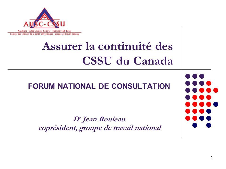 11 Assurer la continuité des CSSU du Canada FORUM NATIONAL DE CONSULTATION D r Jean Rouleau coprésident, groupe de travail national