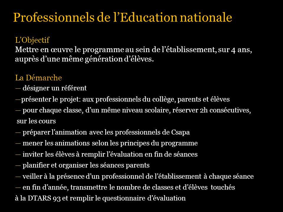 Professionnels de lEducation nationale LObjectif Mettre en œuvre le programme au sein de létablissement, sur 4 ans, auprès dune même génération délève