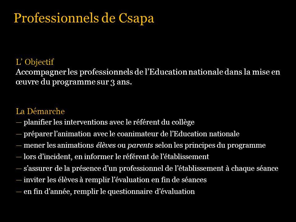 Professionnels de Csapa L Objectif Accompagner les professionnels de lEducation nationale dans la mise en œuvre du programme sur 3 ans. La Démarche pl