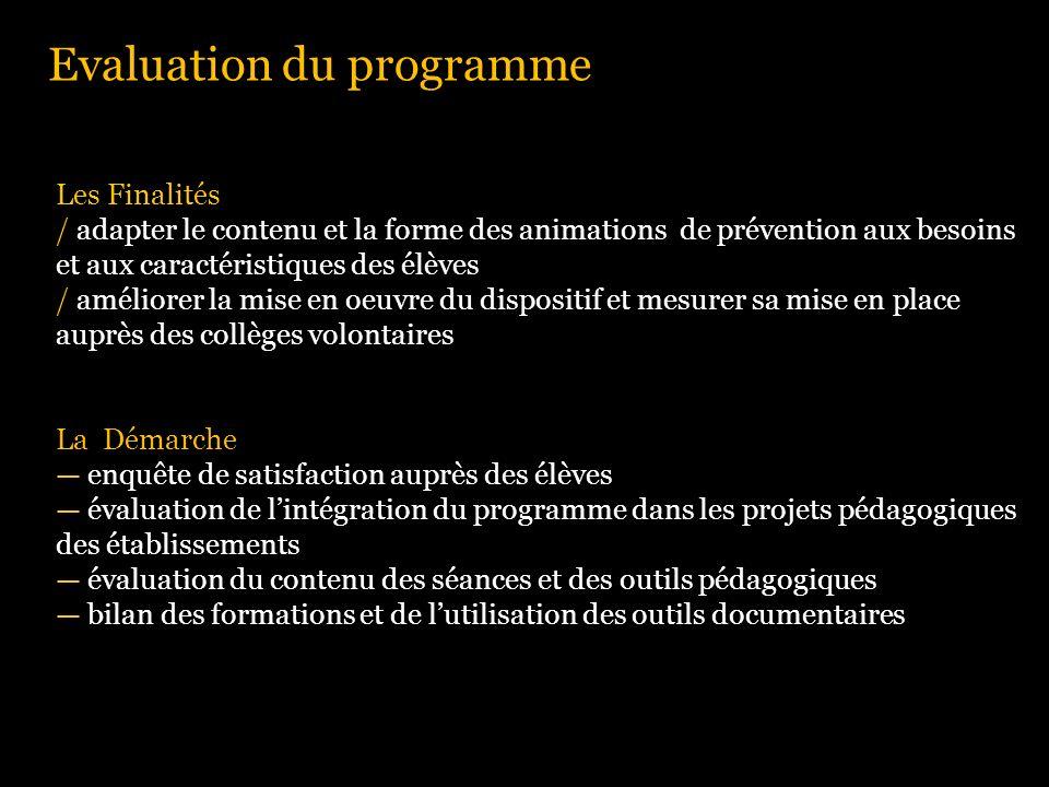 Evaluation du programme Les Finalités / adapter le contenu et la forme des animations de prévention aux besoins et aux caractéristiques des élèves / a