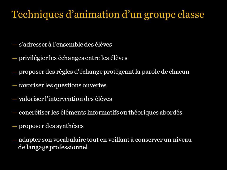 Techniques danimation dun groupe classe sadresser à lensemble des élèves privilégier les échanges entre les élèves proposer des règles déchange protég