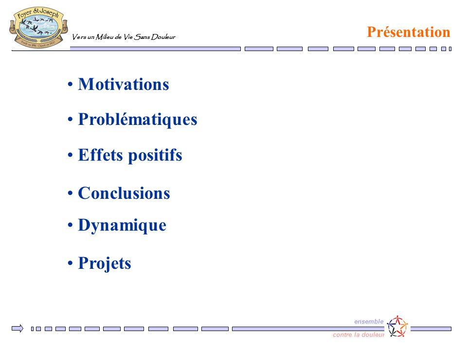 Vers un Milieu de Vie Sans Douleur ensemble contre la douleur Motivations Présentation Problématiques Effets positifs Conclusions Projets Dynamique