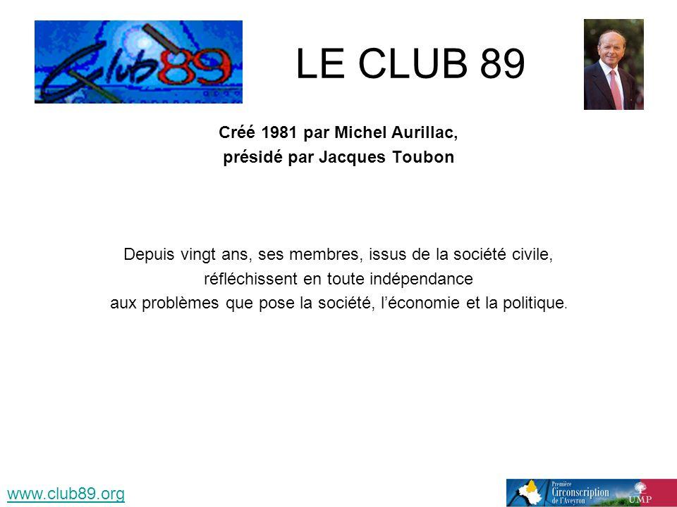 LE CLUB 89 Créé 1981 par Michel Aurillac, présidé par Jacques Toubon Depuis vingt ans, ses membres, issus de la société civile, réfléchissent en toute indépendance aux problèmes que pose la société, léconomie et la politique.