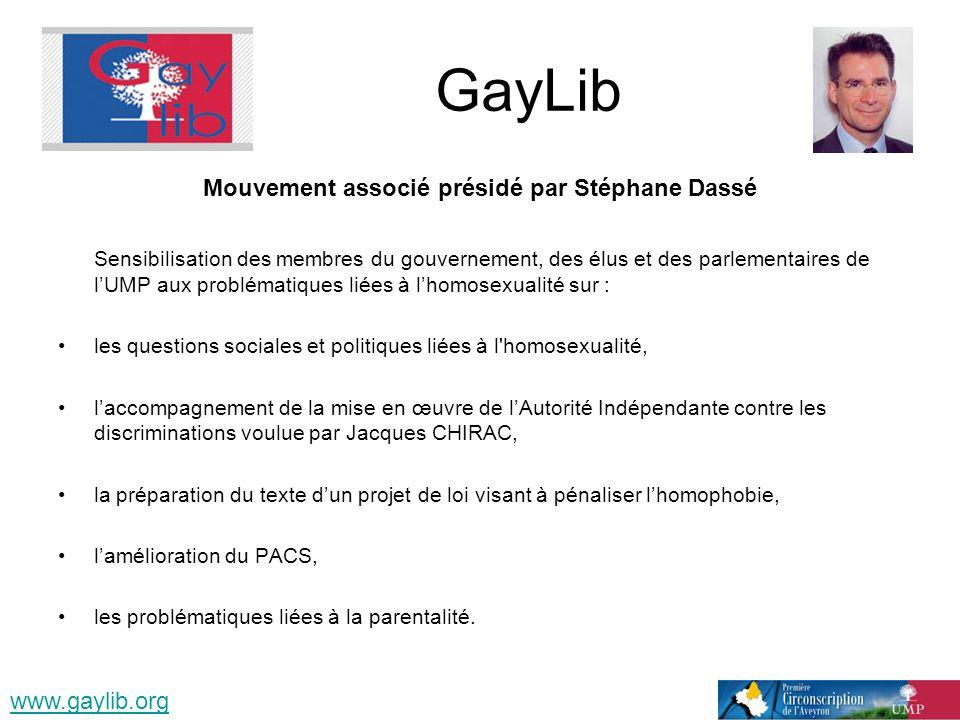 GayLib Mouvement associé présidé par Stéphane Dassé Sensibilisation des membres du gouvernement, des élus et des parlementaires de lUMP aux problémati