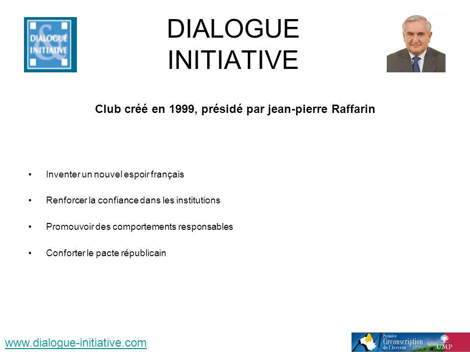 DIALOGUE INITIATIVE Club créé en 1999, présidé par jean-pierre Raffarin Inventer un nouvel espoir français Renforcer la confiance dans les institutions Promouvoir des comportements responsables Conforter le pacte républicain www.dialogue-initiative.com