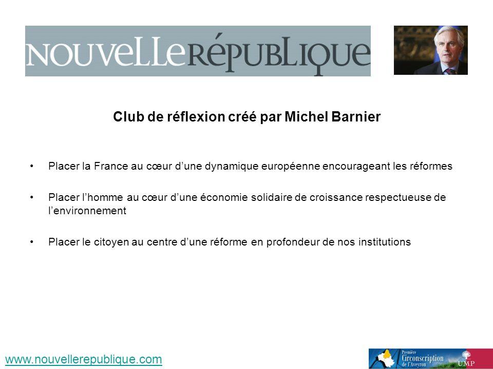 Club de réflexion créé par Michel Barnier Placer la France au cœur dune dynamique européenne encourageant les réformes Placer lhomme au cœur dune écon