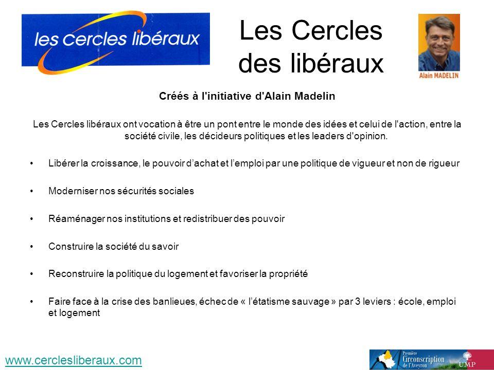 Les Cercles des libéraux Créés à l'initiative d'Alain Madelin Les Cercles libéraux ont vocation à être un pont entre le monde des idées et celui de l'