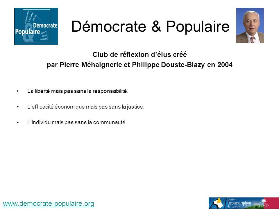 Démocrate & Populaire Club de réflexion délus créé par Pierre Méhaignerie et Philippe Douste-Blazy en 2004 La liberté mais pas sans la responsabilité.