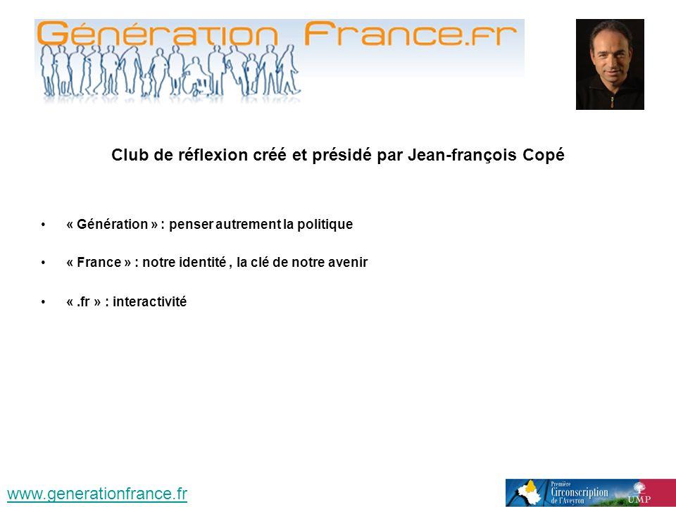 Club de réflexion créé et présidé par Jean-françois Copé « Génération » : penser autrement la politique « France » : notre identité, la clé de notre avenir «.fr » : interactivité www.generationfrance.fr